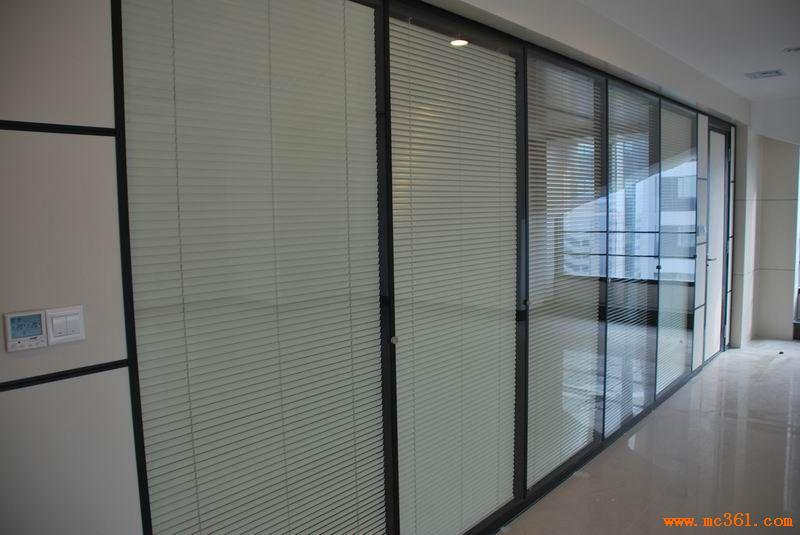双层钢化玻璃夹中空百叶隔断墙隔间