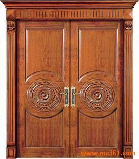 新款原木橡木门图片|豪华气派橡木原木门|双开罗马柱原木橡木门