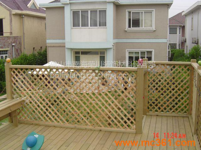 防腐木户外阳台吊顶防腐木地板栏杆外墙木方木条花架
