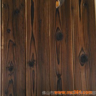 炭化木板浮雕拉丝背景墙装饰面板材扣板炭烧板防古板炭化板