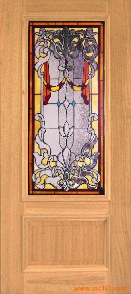 彩色玻璃镶嵌实木门 教堂玻璃门